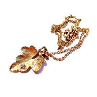 Vintage Leaf Necklace, Gold Chain, Rhinestone Pendant