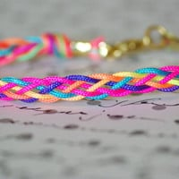 Braided Neon Friendship Bracelet, Multi Colored With Gold Clasp