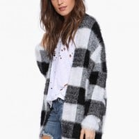 Plaid Fuzzy Cardigan