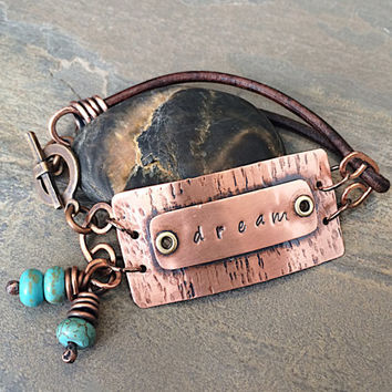 "Hammered Copper and Leather Bracelet, 'Dream""' Bracelet"