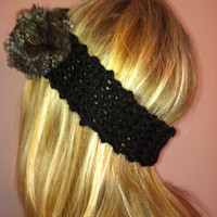 Black Knit Headband With Snake Skin Shear Flower Cozy Brown and Black