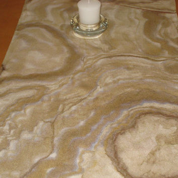 design handpainted cream custom Silk gift  runner table table runner  art interesting pearl