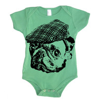 Baby Pug In A Hat Onesuit Bodysuit - American Apparel - 3-6m, 6-12m, 12-18m, 18-24m, (7 Color Options)