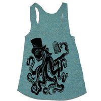 Womens  Otto The Octopus Tri-Blend Racerback Tank Top - american apparel - XS, S, M, and L (9 Color Options)