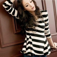 Hot Style Fashion Stripe V Neck T-shirt: tidestore.com