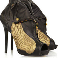 Alexander McQueen | Winged leather ankle boots | NET-A-PORTER.COM