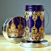 Hand Painted Mason Jar Lantern, Royal Purple Glass with Golden Detailing