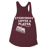 Womens EveryBody Loves A Player GAMER Tri-Blend Racerback Tank Top - American Apparel - XS, S, M, and L (9 Color Options)