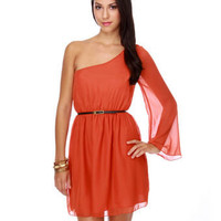 Candy Dish One Shoulder Orange Dress
