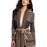 Twelfth St. by Cynthia Vincent Women's Belted Log Cabin Shawl Collar Sweater