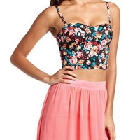 Floral Zip-Back Crop Top: Charlotte Russe