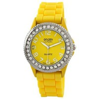 "Golden Classic Women's 2219_yellow ""Savvy Jelly"" Rhinestone Yellow Silicone Watch - designer shoes, handbags, jewelry, watches, and fashion accessories 