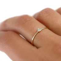 Scarlett Jewelry - Handmade Designer Jewels: Diamond and Solid 14k Gold Stacking Ring, Rings