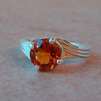 8mm Madeira Citrine Sterling Silver Ring, Cavalier Creations