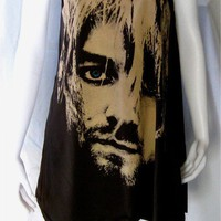 KURT COBAIN Rock NIRVANA Women Black Dress Tshirt by CelebFashion