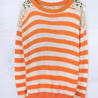 Striped Round Neck Orange Sweater with Lace$44.00