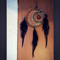 Double Dream Catcher Moon & Star // Hippie Boho Decor
