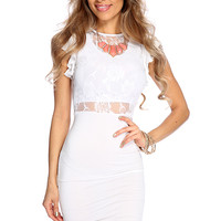 White Lace Knee Length Bodycon Dress