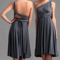 Convertible Dress in steel-matte-- Made to order--