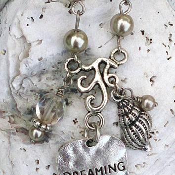 Dreaming Of The Sea Quote Pearl Necklace Ocean Beach Nautical Jewelry