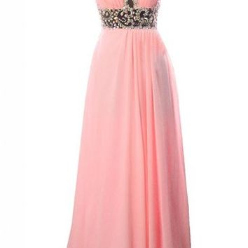 Kamilione Women's Round Neckline Rhinestone Chiffon Long Evening Prom Dress
