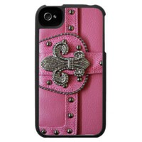 Girly Pink Leather Fleur de Lys photo print Iphone 4 Cover from Zazzle.com
