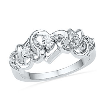 Diamond Accent Abstract Heart Ring in Sterling Silver