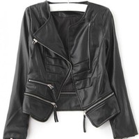 Fashion Zipper Black Jacket$49.00