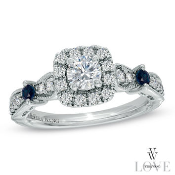 Vera Wang LOVE Collection 3/4 CT. T.W. Diamond Vintage-Style Ring in 14K White Gold