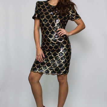 80s Vintage Sequin Fish Scale Mini Dress | Eighties Sparkly Metallic Gold Holiday Party Dress
