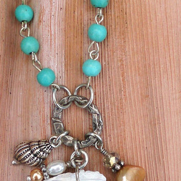 Vintage Mermaid Assemblage Necklace Sea Life Nautical Ocean Beach Turquoise Jewelry One Of A Kind