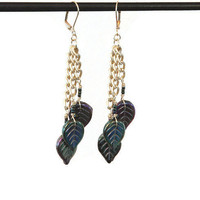 Iris Green Pressed Glass Earrings 1