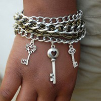 Key To My Heart Multi Chain Bracelet | MarcieRoxx - Jewelry on ArtFire