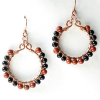Fall hoop earrings - wire wrapped copper, stone & glass beads - woolly bear