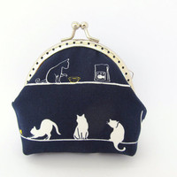 Coin purse Indigo Midnight Navy blue White cat Frame purse Kawaii Japanese fabric