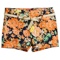 Floral Print Belted Shorts [NCSPU0056] - $28.99 :