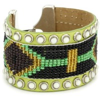 Streets Ahead Chartreuse Leather with White Studs Beaded Navajo Cuff Bracelet - designer shoes, handbags, jewelry, watches, and fashion accessories | endless.com