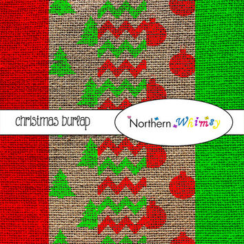 Christmas Burlap Digital Paper Pack - Rustic Scrapbooking Backgrounds - Christmas Patterns – red and green – instant download - CU OK
