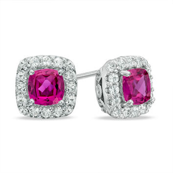 5.0mm Cushion-Cut Lab-Created Pink and White Sapphire Frame Stud Earrings in Sterling Silver