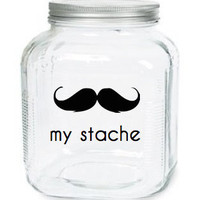 My Stache Jar The Cowboy Mustache Glass Jar by olivetreemonograms