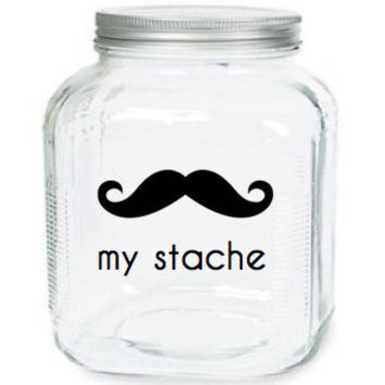 My Stache Jar The Gentleman Mustache Glass by olivetreemonograms