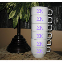 Sorority Coffee Mugs Set of 6 Stackable by olivetreemonograms