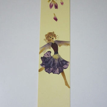 """Handmade unique bookmark """"Flit through life"""" - Decorated with dried pressed flowers and herbs - Original art collage."""