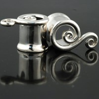 Pair of Silver Eyelet Twists - SP02 - SteelNavel.com