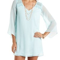 Crocheted Bell Sleeve Shift Dress by Charlotte Russe - Mint