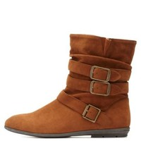 Qupid Triple-Belted Slouchy Ankle Boots by Charlotte Russe - Rust