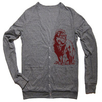 Unisex LION PROFESSOR Tri-Blend Cardigan - American Apparel - XS S M L (4 Color Options)