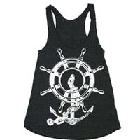 Womens Anchor Ship Wheel Tri-Blend Racerback Tank Top - American Apparel - XS, S, M, and L (9 Color Options)