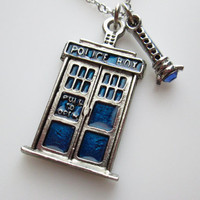 Tardis Necklace and Sonic Screwdriver Inspired by Doctor Who
