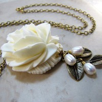 Large Creme Rose Antiqued Gold Necklace by CuteAbility on Etsy